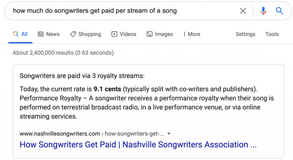 how much do songwriters get paid per stream
